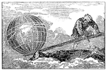 """Archimedes understood centuries ago. """"Archimedes lever"""" by Unknown - Engraving from Mechanic's Magazine (cover of bound Volume II, Knight & Lacey, London, 1824). Courtesy of the Annenberg Rare Book & Manuscript Library, University of Pennsylvania, Philadelphia, USA.[1]. Licensed under Public Domain via  Wikimedia Commons ."""