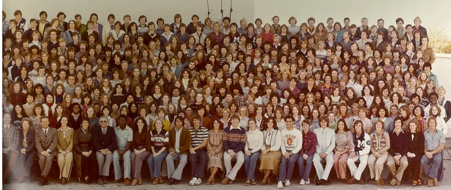 """""""Through Our Spirit We Will Shine, We Are The Class Of '79."""" That is me on the front row, middle, with the really great blue sweater and some sort of weird Native American brown stripe across the chest. Fashion was not my strong suit. Photo Credit: Goldbeck Panoramic Photography."""