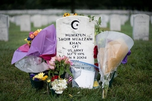 Humayun Khan's grave at Arlington National Cemetary. Image By Sgt. Cody W. Torkelson [Public domain], via Wikimedia Commons