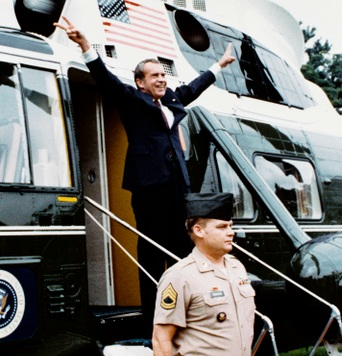 Richard Nixon departs, August 9, 1974. Photo credit Ollie Atkins [Public domain] via Wikimedia