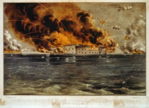 """""""Bombardment of Fort Sumter(3b52027r)"""" by Published by Currier & Ives - Library of Congress Prints and Photographs Division Washington, D.C. Licensed under Public Domain via  Wikimedia Commons  -"""