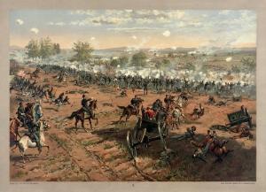 """Thure de Thulstrup - L. Prang and Co. - Battle of Gettysburg - Restoration by Adam Cuerden"" by Thure de Thulstrup - Original scan: Library of Congress - N.B. Licensed under Public Domain  via Wikimedia Commons -"