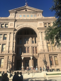The entrance to the Texas Capitol building