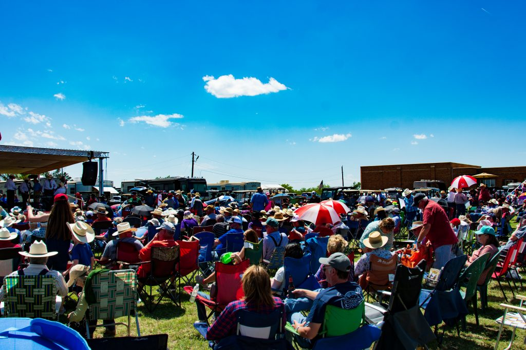 "The crowd gathered to hear Jason Roberts lead ""The Bob Wills' Texas Playboys"" band."