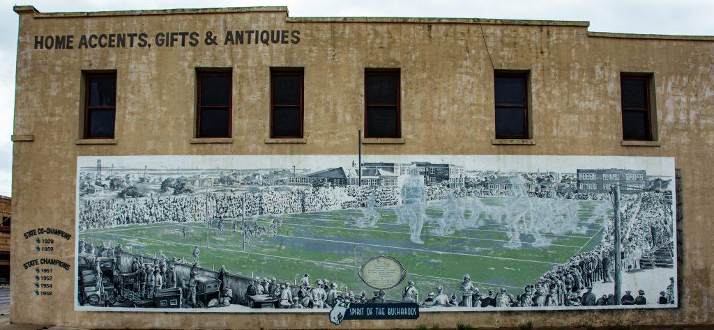 An historical mural in Breckenridge, Texas.